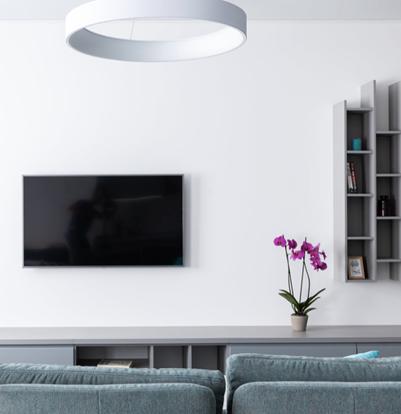 paarse bloem in een modern en clean interieur